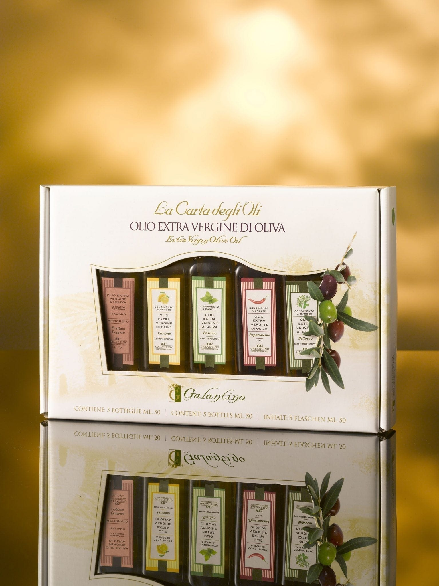 5 different tastes of olive oil in box 5x50ml